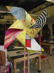 Middle school art culminating project idea. Students choose four artists they were inspired by througout the year and create beautiful pinwheels!