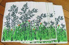 VGC Vintage Vera Neumann Set of 4 Linen Napkins Greenery with Ladybugs   eBay