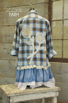 Farm Girl Fancies Upcycled Flannel Shirt Tunic Jacket ~ Vintage Lace Doily Flowers Back ~ Shabby Chic Clothing ~ OOAK By: Sweet Magnolias Farm .. just listed in our Etsy shop ...