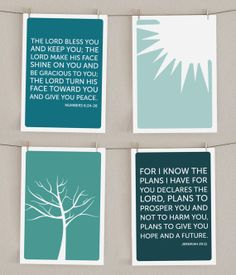 Bible Verse Nursery Art Print Set of 4 - Numbers 6 - Sun Illustration - Tree Illustration - Jeremiah 29:11 on Etsy, $31.00