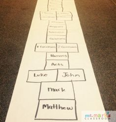 New Testament Hopscotch. What a fun way to memorize the books of the Bible!