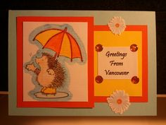 Poorly lit hedgehog card.  Uses water colour pencils.