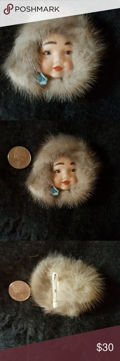 Vintage porcelain and fur brooch Fabulous looking delicate piece with more modern closer. I do believe that the pin has been replaced but it works fine and I have tried it out several times. Approx 3 in long.  Always up for reasonable offers Vintage Jewelry Brooches