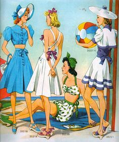 1940.  I love this...can you imagine anyone going to the beach this covered up now?