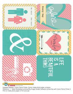 Printable journal cards