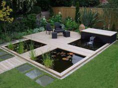 Bauen Sie einen modernen Gartenteich mit Terrasse und Brücken