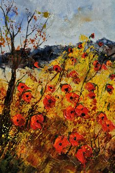 "Saatchi Art Artist: Pol Ledent; Oil 2011 Painting ""Poppies in Provence"""