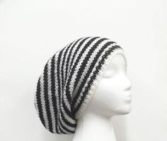 Black White stripe slouchy beanie hat mens hats by CaboDesigns