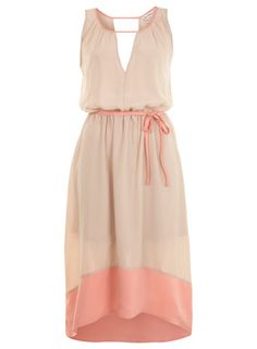 nude colorblock dress.