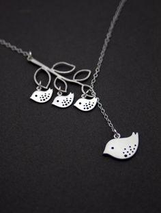 Silver Bird NecklaceFamily Tree NecklaceSilver door MenuetDesigns