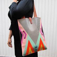 Geo print leather tote bag | Tovivorrie