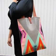 Leather Tote / Laptop bag - Tribal Geometric