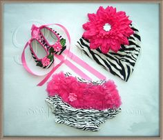 Baby Zebra/Hot Pink Ballerina Crib shoes by PRINCESSHAIRBOWS4YOU, $30.00