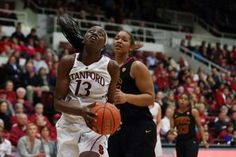 Stanford Cardinal forward Chiney Ogwumike (13) looks to the basket ahead of USC Trojans