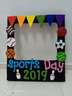 Best 12 sports day photo frame by teacher mun Sports Day Board Decoration, Sports Day Banner, Class Decoration, School Decorations, Teachers Day Decoration, Sports Decor, Sports Bulletin Boards, Sports Theme Classroom, Art Classroom