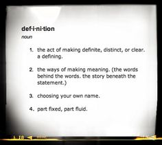 definition: a list of language and meaning.