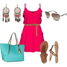fuchsia dress combination of clothes fashion wear accessories http://www.womans-heaven.com/fuchsia-dress-accessories-combination/