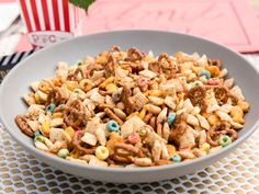 Cheesy Garlic Snack Mix recipe from Patricia Heaton Parties via Food Network (no fruit loops for me)