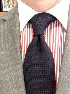 Sam Hober Tie: Dark Red on Midnight Blue Grenadine Pin Dot Silk Tie 3 http://www.samhober.com/grenadine-grossa-pin-dot-silk-ties/