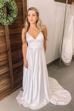 Martina Liana Designer Sheath Wedding Gown with Spaghetti Straps, V-Neck and Back, Simple and Classic Lines with a Clean Edge Train. Sheath Wedding Gown, Wedding Dresses With Straps, Designer Wedding Dresses, Sheath Dress, Dress Skirt, Bridesmaid Dresses, Bridal Gowns, Wedding Gowns, Minimalist Wedding Dresses