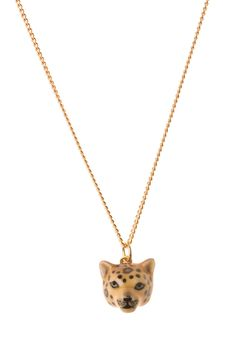 """Hand painted porcelain leopard head charm available on a 18"""" or 24"""" gold, silver or antique brass plated brass based necklace. Also available on a 18"""" ..."""