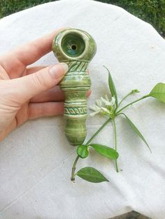 Mossy Green Stoneware Pipe ~ Ceramic Tobacco Smoking Bowl