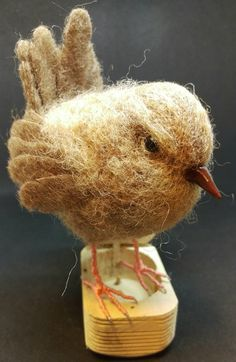 Jenny Wren, a study in making more realistic feathers, needle felted by A Quirk of Felt.