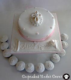 Olivia Rose Baptism Cake & Cupcakes | Flickr - Photo Sharing!