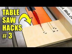 Woodworking For Kids 5 Quick Table Saw Hacks Part 3 / Woodworking Tips and Tricks Woodworking For Kids, Woodworking Patterns, Woodworking Classes, Popular Woodworking, Woodworking Techniques, Woodworking Jigs, Woodworking Furniture, Woodworking Projects, Wood Projects