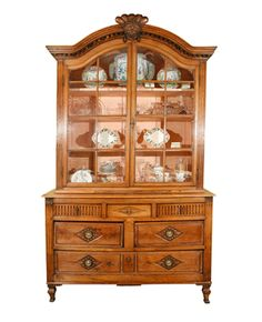 A French Fruitwood Buffet with Glazed Upper Doors and Drawered Base circa 1810-25