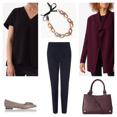 Client brief: update work wardrobe for mild months with versatile separates that can be worn multiply ways always ensuring a polished and professional feel. Top & cardigan: Jigsaw, necklace: J.Crew, trousers: Gerard Darel, bag & shoes: LK Bennett