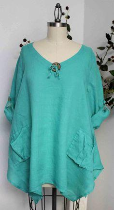 Gotta have Summer New Linen Oversized designer Lagenlook Tunic top with Front Pockets
