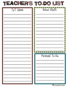 Super cute To-Do lists that can be downloaded from TPT.