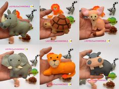 AFRICAN SAFARI ANIMALS felt magnets, the first part - Price per 1 item - make your own set - Lion, Lemur, Rhino, Tortoise, Hippo, Chameleon от LADYBUGonCHAMOMILE