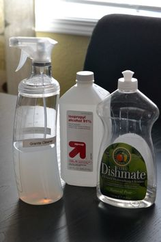 Granite Cleaner 1/4 cup of rubbing alcohol 3 drops of dish soap 1 Cup Water You can use 5-10 drops of essential oils to mask the alcohol sm...