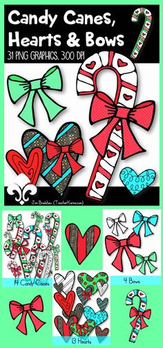 Candy Canes, Bows, & Hearts clip art!  LOVE!  LOVE!  31 FREE graphics for the first 24 hours.  Perfect for Christmas!  TeacherKarma.com #candy #clip art