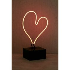 Neon Mfg. Heart Neon Table Lamp ($129) ❤ liked on Polyvore featuring home, lighting, table lamps, glass table lamps, neon lights, glass lamp, glass lighting and neon lamp
