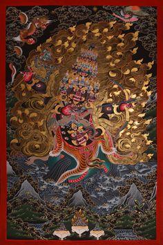 Tibetan Buddhist Thangka of Rahula (wrathful Dharma protector).