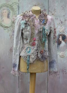 Chateau jacket -bohemian romantic jacket, ,altered couture, embroidered and beaded details,old laces