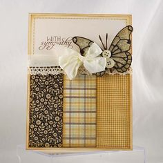 """Lovely """"With Sympathy"""" Butterfly Card...like that it utilizes paper scraps...croppixie - Cards and Paper Crafts at Splitcoaststampers."""