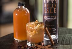 Roll in the Hay: Cider Spice Moonshine Infusion Cocktail (1 C Belle Isle Premium Moonshine, 1 t whole cloves, 1 t whole cardamom, 1 t whole allspice1 cinnamon stick and 1 piece star anise: Combine the ingredients with moonshine and infuse for 36 hours. Strain spirit through a mesh strainer and discard whole spices.)
