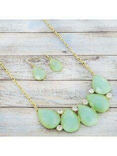 www.ewam.com Crystal Accented Mint Teardrop Gem Goldtone Necklace and Earring Set #shopewam #teardropnecklace #statementnecklace