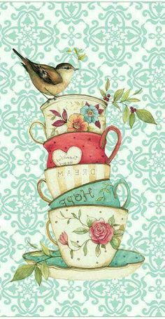 cup of rest / I read today that you can't pour from an empty cup, please take some time this weekend to rest and have a quiet cup with the Lord. Tea Cup Art, Tea Cups, Vintage Cards, Vintage Images, Tee Kunst, Etiquette Vintage, Arts And Crafts, Paper Crafts, Kitchen Art