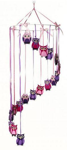 Felt Mobile - Owls (or something similar) Owl Crafts, Paper Crafts, Mobiles, Felt Mobile, Mobile Baby, Felt Owls, Owl Always Love You, Hanging Mobile, Cute Owl