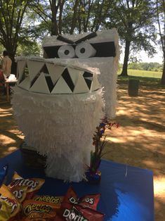 Terrible Talking Toilet pinata! Inspired by Captain Underpants. Made from paper mache and cardboard.