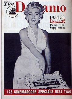"""The Dynamo - 1954-1955, magazine from USA.  Marilyn Monroe on the set of """"The Seven Year Itch"""", cutting a cake celebrating the anniversary of Cinemascope. Photo by Bruno Bernard, September 1954."""