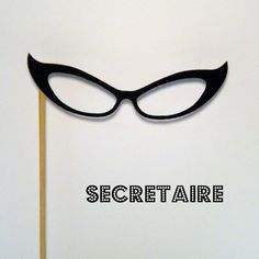 Glasses on a stick Secretaire photobooth prop by KittyDuneCuts, $2.00