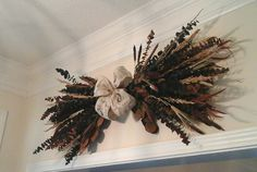 Eucalyptus Swag, Large Fall Eucalyptus Wreath, Dry Floral Swag, Natural, Wheat Decor, French Decor Swag,Over Door, Mantel, Arrangement by GiftsByWhatABeautifu on Etsy