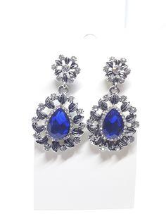 Edle Ohrhänger Ohrringe mit klaren Strass Steinen und blauem Kristall NEU