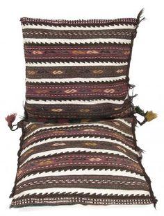 Multi-Color Wool Biloch Kilim Saddle Bag 50in x 23in